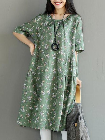 Green Crew Neck Printed Casual Floral Linen Dress