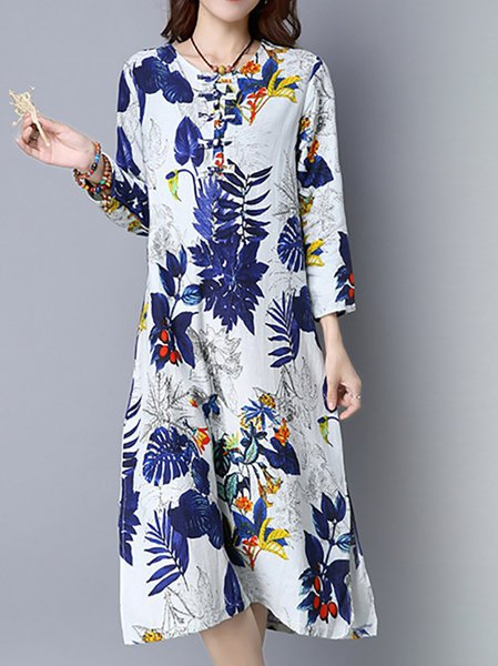 Leaf Printed Casual Linen Dress
