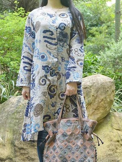 Cotton Printed Shift Long Sleeve Casual Linen Dress
