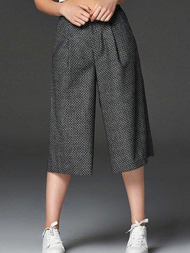 Gray Shift Stripes Buttoned Wide Leg Pants