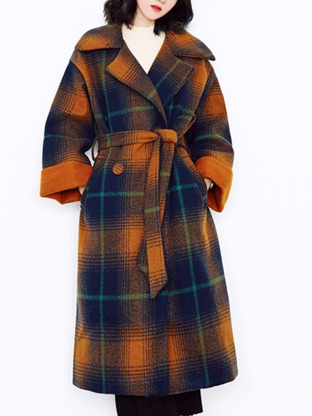 Long Sleeve Checkered/Plaid Lapel H-line Outerwear