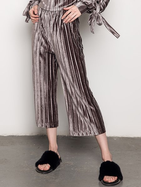 Solid Casual Pleated Wide Leg Pants