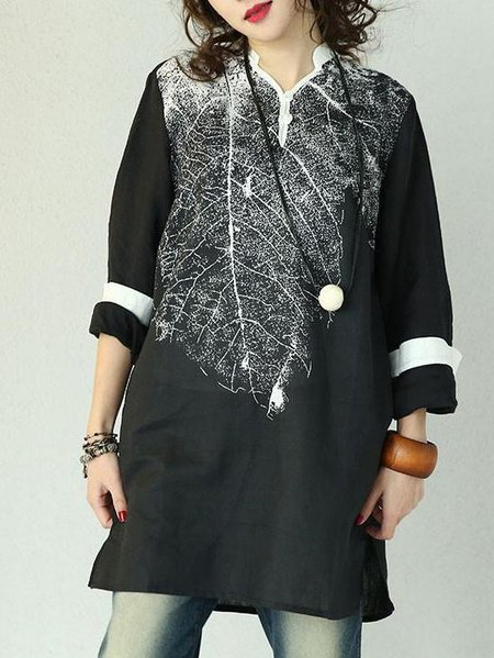 Black Printed 3/4 Sleeve Linen Top