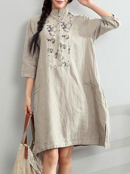 Stand Collar Shift Casual 3/4 Sleeve Linen Dress