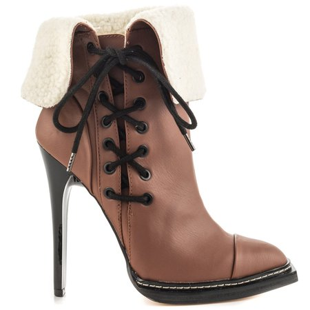 Brown Casual Lace-up Stiletto Heel Boots