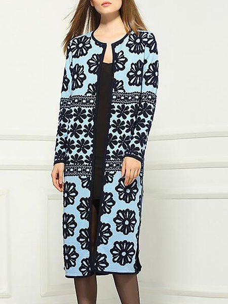 Blue Slit Wool Blend Casual Coat