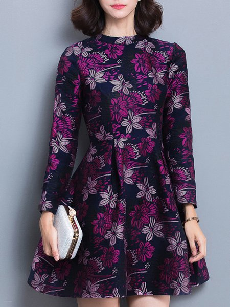 Purple Vintage Floral Printed A-line Mini Dress