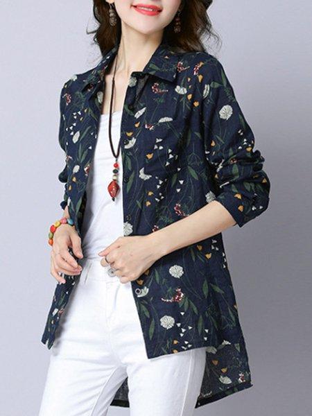 Plus Size Shirt Collar Casual Linen Top