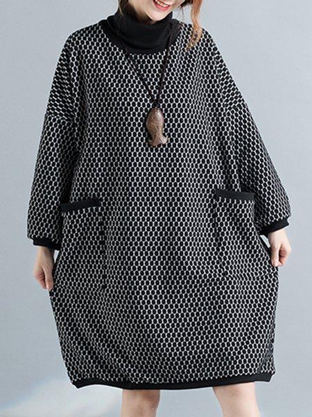 Black H-line Casual Linen Linen Dress