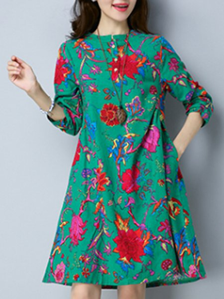 Floral Stand Collar Casual Buttoned Linen Dress