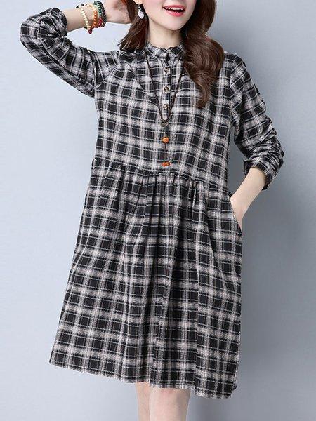 A-line Long Sleeve Linen Dress