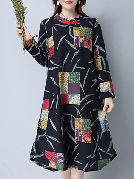 Casual Printed Abstract Cotton Linen Dress