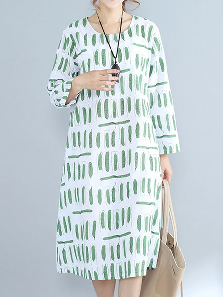 White Crew Neck H-line Casual Linen Dress
