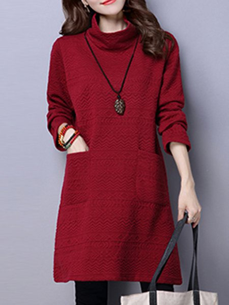 Pockets Long Sleeve Casual Linen Dress