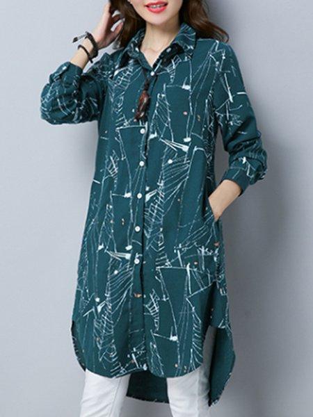 Shirt Collar Cotton Long Sleeve Linen Top
