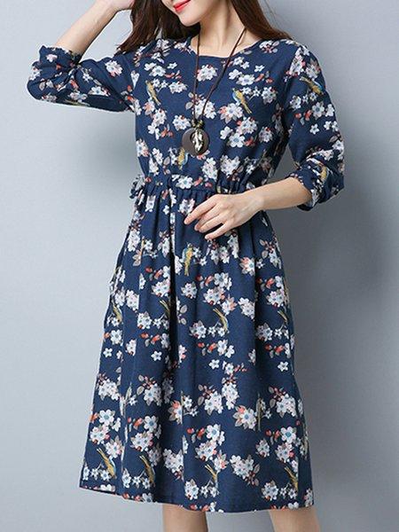 Crew Neck Floral Long Sleeve Cotton Linen Dress