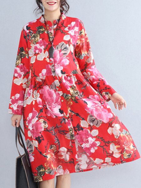 Long Sleeve Casual A-line Floral Linen Dress
