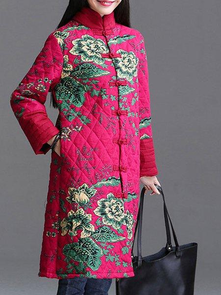 Casual Stand Collar Long Sleeve Linen Outerwear