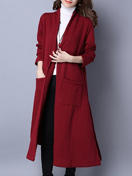Casual Slit H-line Plain Linen Outerwear