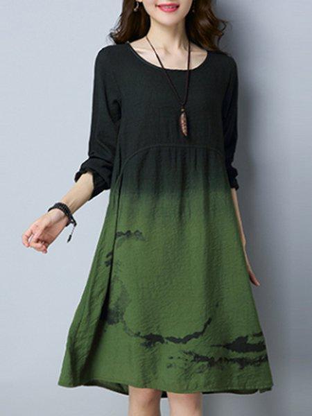 Casual Color-block Long Sleeve Linen Dress