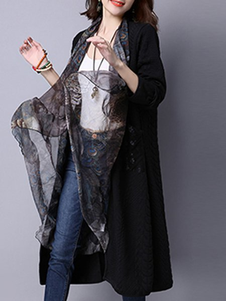 Long Sleeve Plain Casual Linen Outerwear