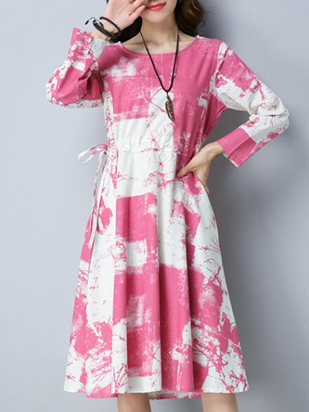 Plus Size Crew Neck Gathered Abstract Long Sleeve Linen Dress