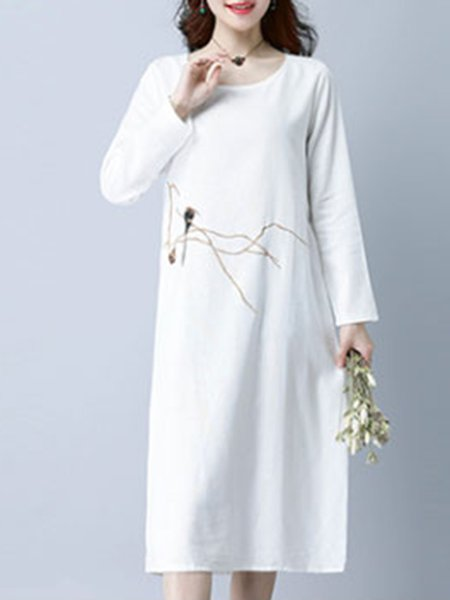 Casual Embroidered Linen Crew Neck Long Sleeve Linen Dress