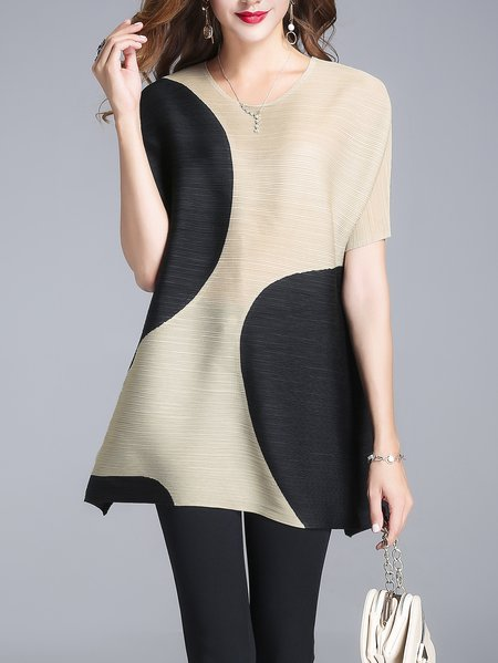 Black Color-block Shorts Sleeve Tunic