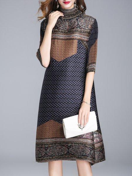 Plus Size Vintage  3/4 Sleeve Printed A-line Midi Dress