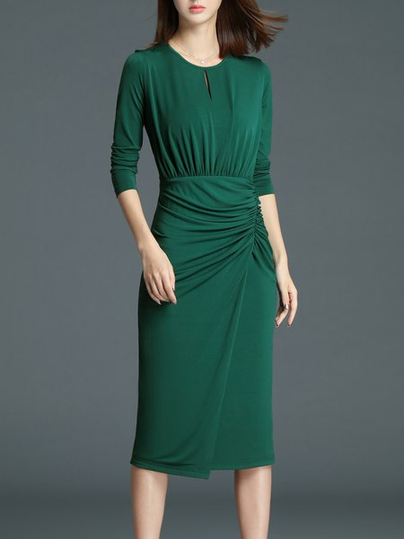 Green Elegant Pleated Midi Dress