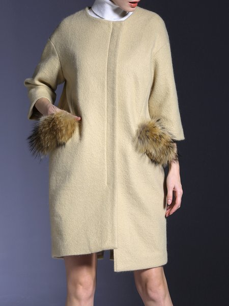 Pockets Elegant Wool Blend Fur And Shearling Coat