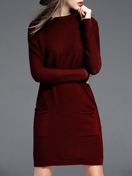 Burgundy Pockets H-line Simple Knitted Sweater Dress