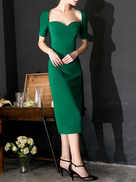 Green Elegant Cotton-blend Sweetheart Bodycon Midi Dress