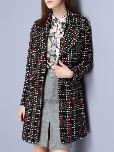 Multicolor Long Sleeve Checkered/Plaid Coat