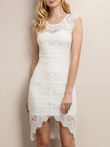 Pierced Lace Elegant High Low Midi Dress