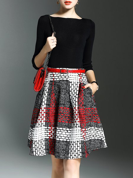 Bateau/boat Neck Two Piece Knitted Long Sleeve Checkered/Plaid Midi Dress