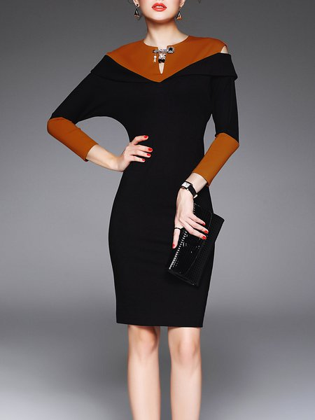 Black Color-block Cut Out Bodycon Elegant Midi Dress