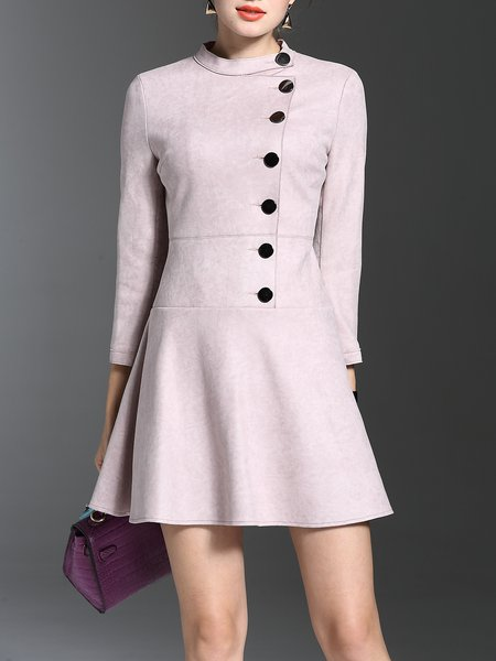 Pink Solid Elegant A-line Mini Dress