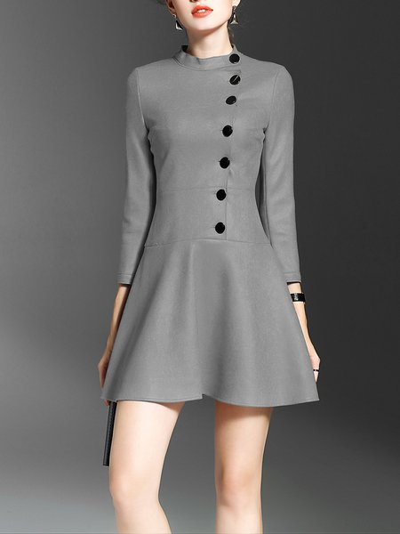 Gray Solid Stand Collar Flounce Casual Mini Dress