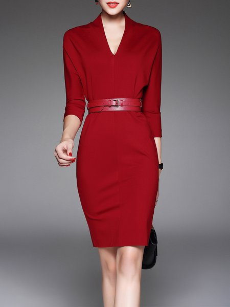 Plus Size Symmetric Elegant 3/4 Sleeve Midi Dress