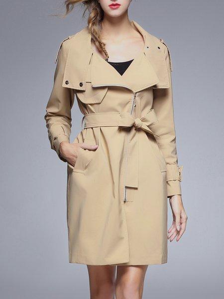 Zipper Elegant Pockets Turtleneck Trench Coat with Belt