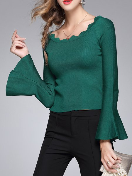 Bateau Neck Flared Sleeve Polyester Sweater