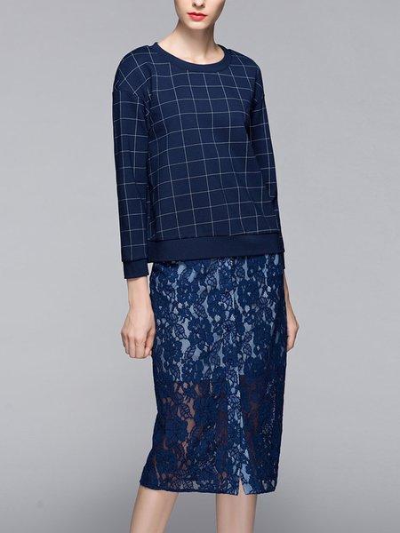 Casual Two Piece Checkered/Plaid Long Sleeve Midi Dress