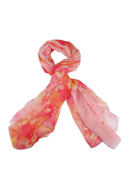 Multicolor Floral-print Silk-blend Scarf