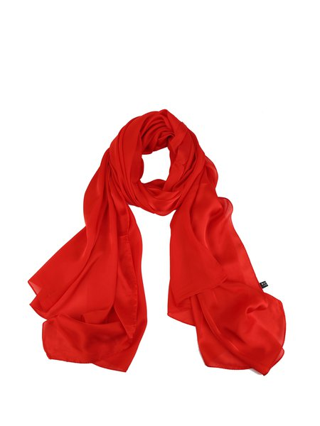 Red Solid Casual Silk-blend Scarf