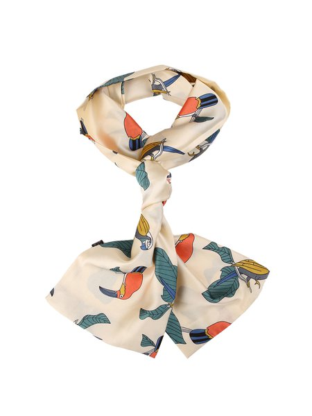 Apricot Casual Graphic Leaf Printed Scarf
