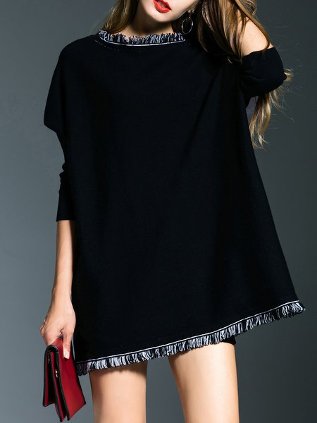 Black Long Sleeve Plain H-line Bateau/boat Neck Mini Dress
