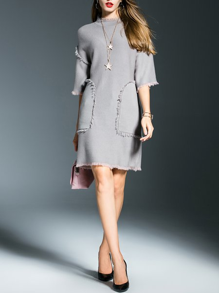 Gray Pockets Wool Simple Midi Dress