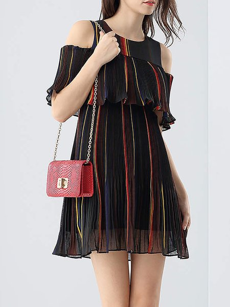 Black Stripes Crew Neck Cold Shoulder Mini Dress