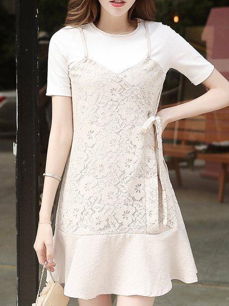 Beige Floral Crew Neck Short Sleeve Guipure Mini Dress